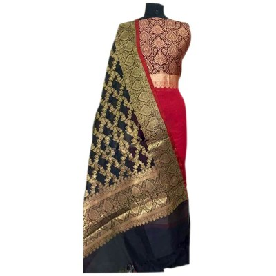 N collection Red Silk Banarasi Weaved Un-Stitched Handloom Dress Material