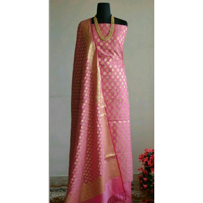 N collection Rose Silk Banarasi Weaved Un-Stitched Dress Material