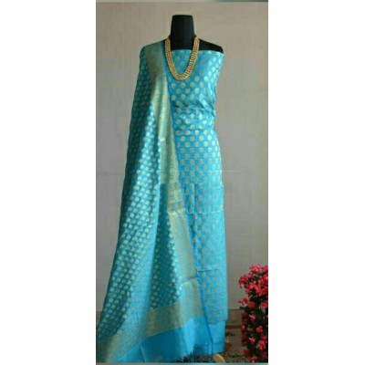 N collection Sky Blue Silk Banarasi Weaved Un-Stitched Dress Material