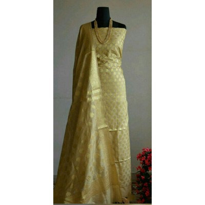 N collection Yellow Silk Banarasi Weaved Un-Stitched Dress Material
