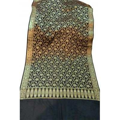 N collection Black Silk Banarasi Handloom Duppatta