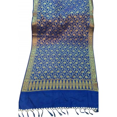 N collection Blue Silk Banarasi Handloom Duppatta