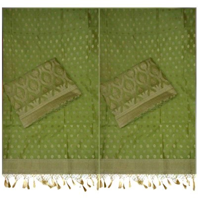 N collection Green Cotton Silk Banarasi Weaved Un-Stitched Dress Material