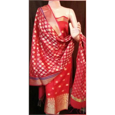 N collection Red Semi Chanderi Silk Banarasi Weaved Un-Stitched Dress Material