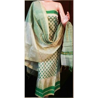 N collection Green Semi Chanderi Silk Banarasi Weaved Un-Stitched Dress Material