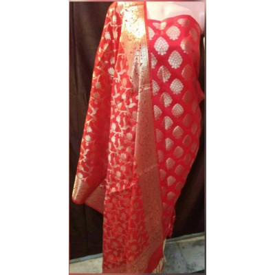 N collection Red Semi Silk Brocaded Un-Stitched Dress Material