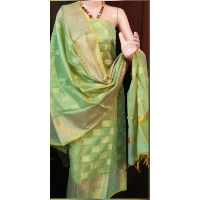 N collection Light Green Semi Chanderi Silk Banarasi Weaved Un-Stitched Dress Material