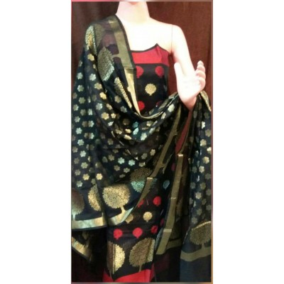 N collection Black Semi Chanderi Silk Banarasi Weaved Un-Stitched Dress Material