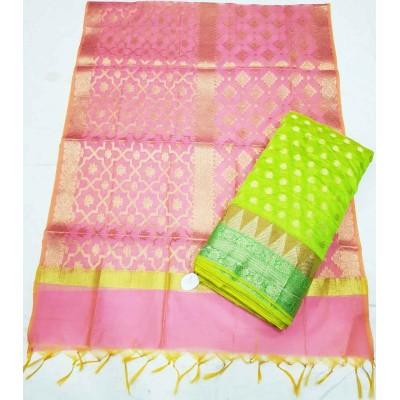 N collection Light Green Silk Banarasi Weaved Un-Stitched Dress Material