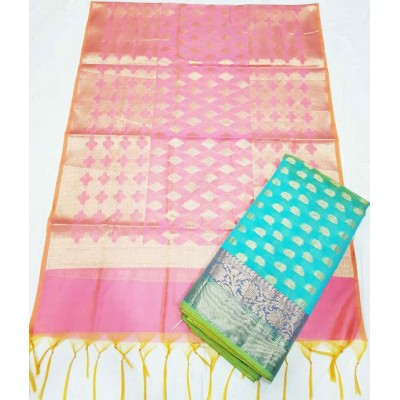 N collection Sea Green Silk Banarasi Weaved Un-Stitched Dress Material