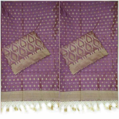 N collection Lavender Cotton Silk Banarasi Weaved Un-Stitched Dress Material