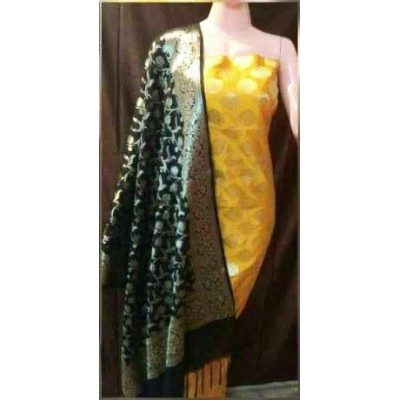 N collection Yellow Semi Silk Brocaded Un-Stitched Dress Material
