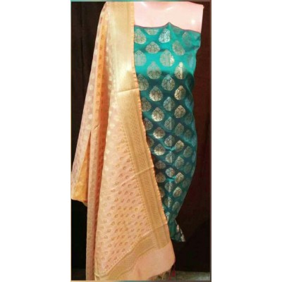 N collection Light Green Semi Silk Brocaded Un-Stitched Dress Material