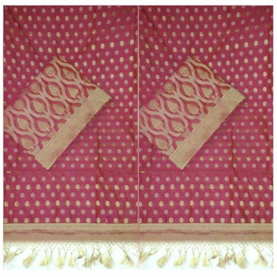 N collection Pink Cotton Silk Banarasi Weaved Un-Stitched Dress Material