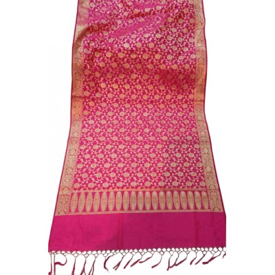 N collection Pink Silk Banarasi Handloom Duppatta