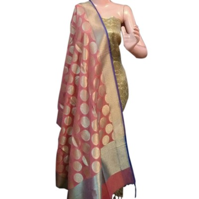 N collection Light Pink Silk Banarasi Weaved Un-Stitched Dress Material