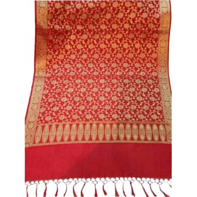 N collection Red Silk Banarasi Handloom Duppatta