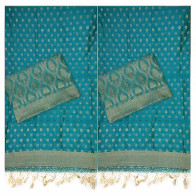 N collection Sky Blue Cotton Silk Banarasi Weaved Un-Stitched Dress Material