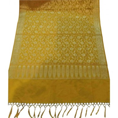 N collection Yellow Silk Banarasi Handloom Duppatta