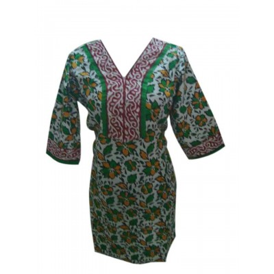 Padova Fashions Green Cotton Printed Straight Kurta