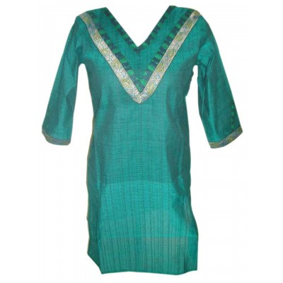 Padova Fashions Sea Green Handloom Straight Kurta