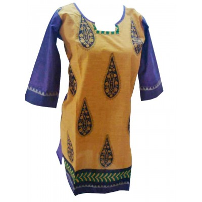 Padova Fashions Yellow Chanderi Cotton Printed Straight Kurta