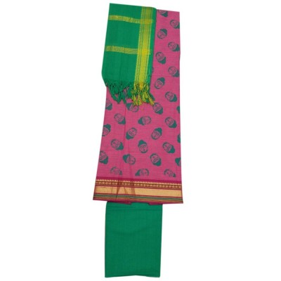 Lakshmi Silks Pink Pure Cotton Printed Un-Stitched Dress Material