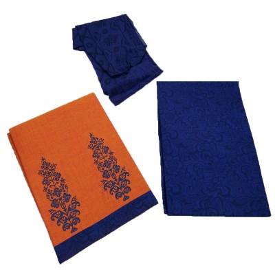 Lakshmi Silks Orange Mangalagiri cotton Printed Un-Stitched Handloom Dress Material