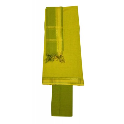 Lakshmi Silks Green Pure Cotton Un-Stitched Dress Material