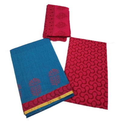 Lakshmi Silks Blue Mangalagiri cotton Printed Un-Stitched Handloom Dress Material
