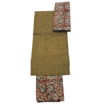 Lakshmi Silks Beige Kalamkari Un-Stitched Dress Material