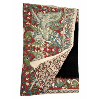 Lakshmi Silks Black Cotton Kalamkari Printed Saree