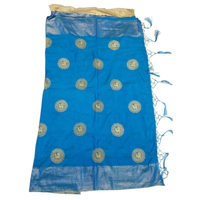 Lakshmi Silks Blue Balatine Silk Zari Bordered Mangalagiri Handloom Saree