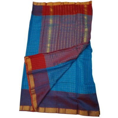 Lakshmi Silks Blue Cotton Silk Zari Checkered Mangalagiri Handloom Saree
