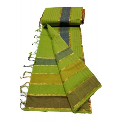 Lakshmi Silks Green Cotton 7 Lines Mangalagiri Handloom Saree