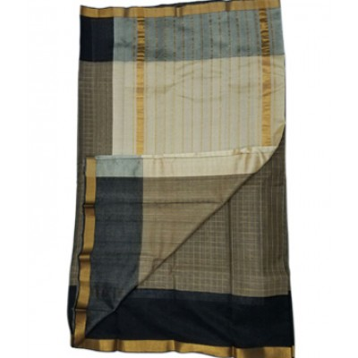 Lakshmi Silks Ash Cotton Silk Zari Checkered Mangalagiri Handloom Saree
