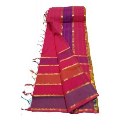 Lakshmi Silks Maroon Cotton 7 Lines Mangalagiri Handloom Saree