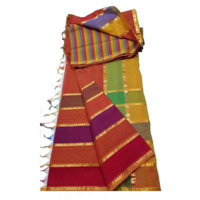 Lakshmi Silks Multi Colour Cotton 7 Lines Mangalagiri Handloom Saree