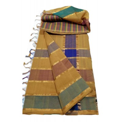 Lakshmi Silks Mustard Cotton 7 Lines Mangalagiri Handloom Saree