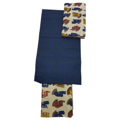 Lakshmi Silks Navy Blue Kalamkari Printed Un-Stitched Dress Material