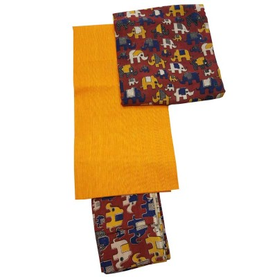 Lakshmi Silks Orange Kalamkari Un-Stitched Dress Material