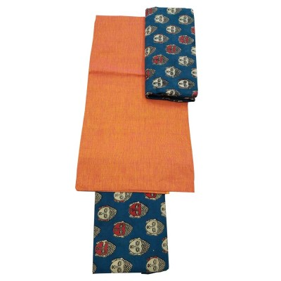 Lakshmi Silks Orange Kalamkari Printed Un-Stitched Dress Material