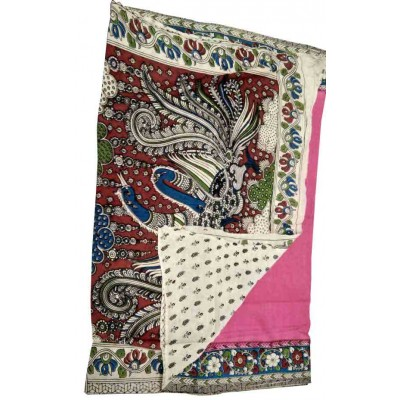 Lakshmi Silks Pink Cotton Kalamkari Printed Saree
