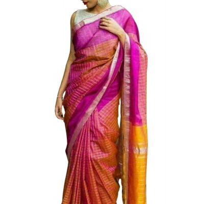 Lakshmi Silks Red Cotton Silk Zari Checkered Mangalagiri Handloom Saree