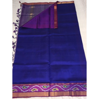 Lakshmi Silks Royal blue Silk Ikkat Mangalagiri Handloom Saree
