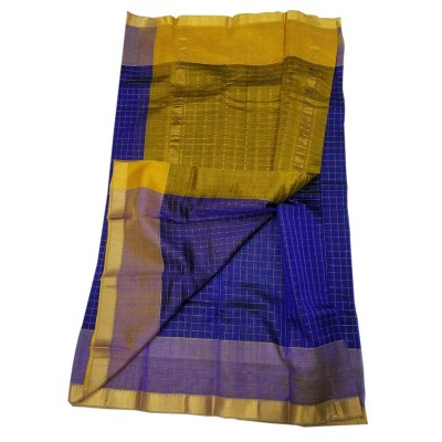 Lakshmi Silks Royal blue Cotton Silk Zari Checkered Mangalagiri Handloom Saree
