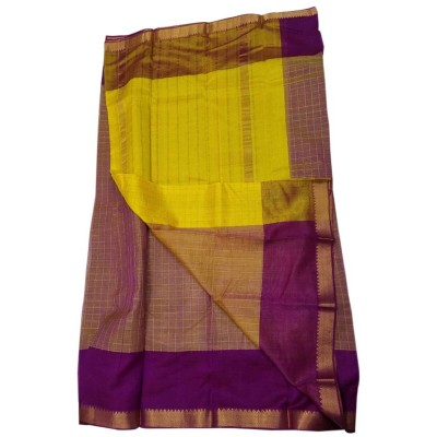 Lakshmi Silks Violet Cotton Silk Zari Checkered Mangalagiri Handloom Saree