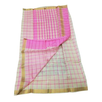 Lakshmi Silks White Cotton Silk Fancy Checkered Mangalagiri Handloom Saree
