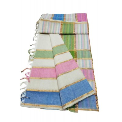 Lakshmi Silks White Cotton 7 Lines Mangalagiri Handloom Saree
