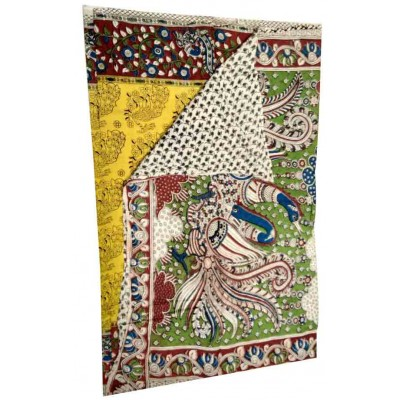 Lakshmi Silks Yellow Cotton Kalamkari Printed Saree